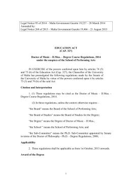 Legal Notice 95 of 2014 – Malta Government Gazette 19,227 –... Amended by: