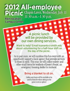 2012 All-employee Picnic Chapin Lawn, Wednesday, July 11 11:30 a.m.–1:30 p.m.