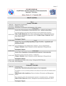 Annex 1  ITU BDT SEMINAR «Tariff Policies and Interconnection of Telecommunication