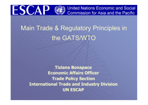 Main Trade & Regulatory Principles in the GATS/WTO