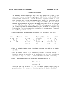 CS330 Introduction to Algorithms November 19, 2012 Linear programming