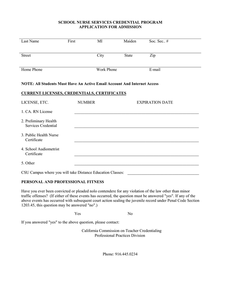 School Nurse Services Credential Program Application For Admission