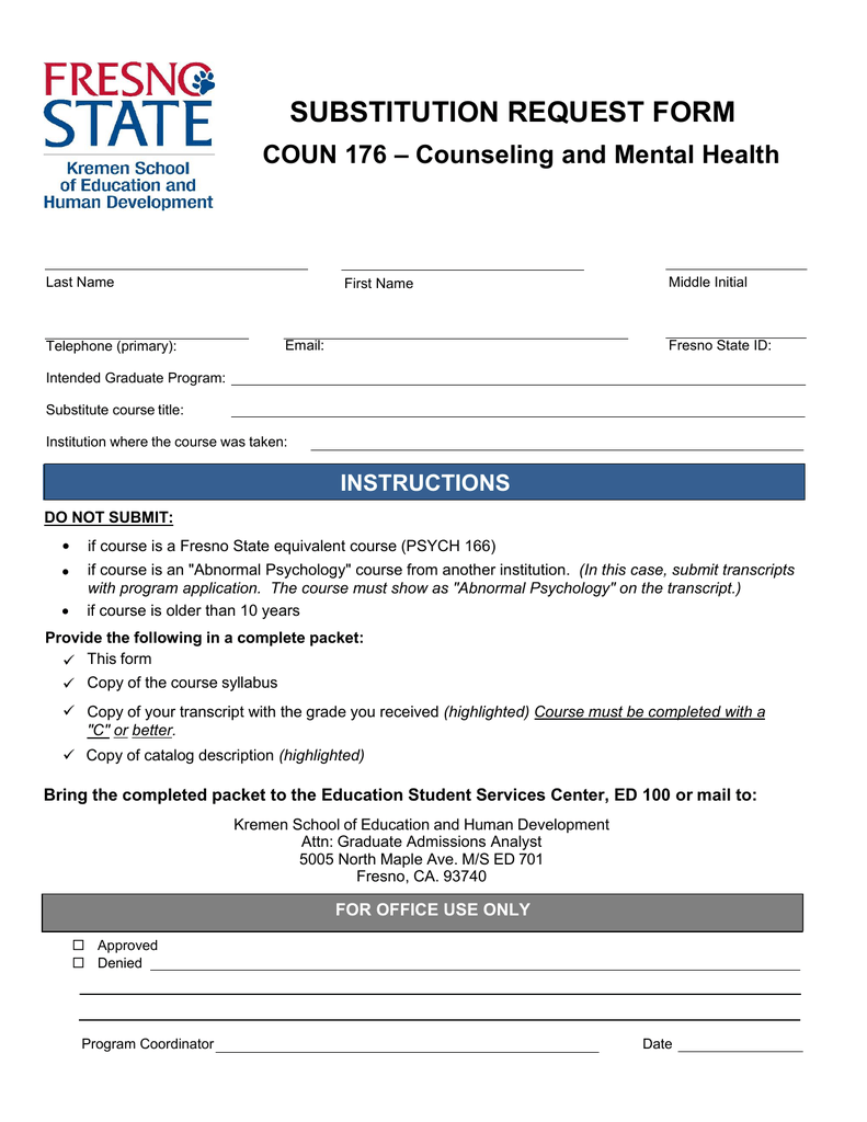 Fresno State Admissions >> Substitution Request Form Coun 176 Counseling And Mental Health