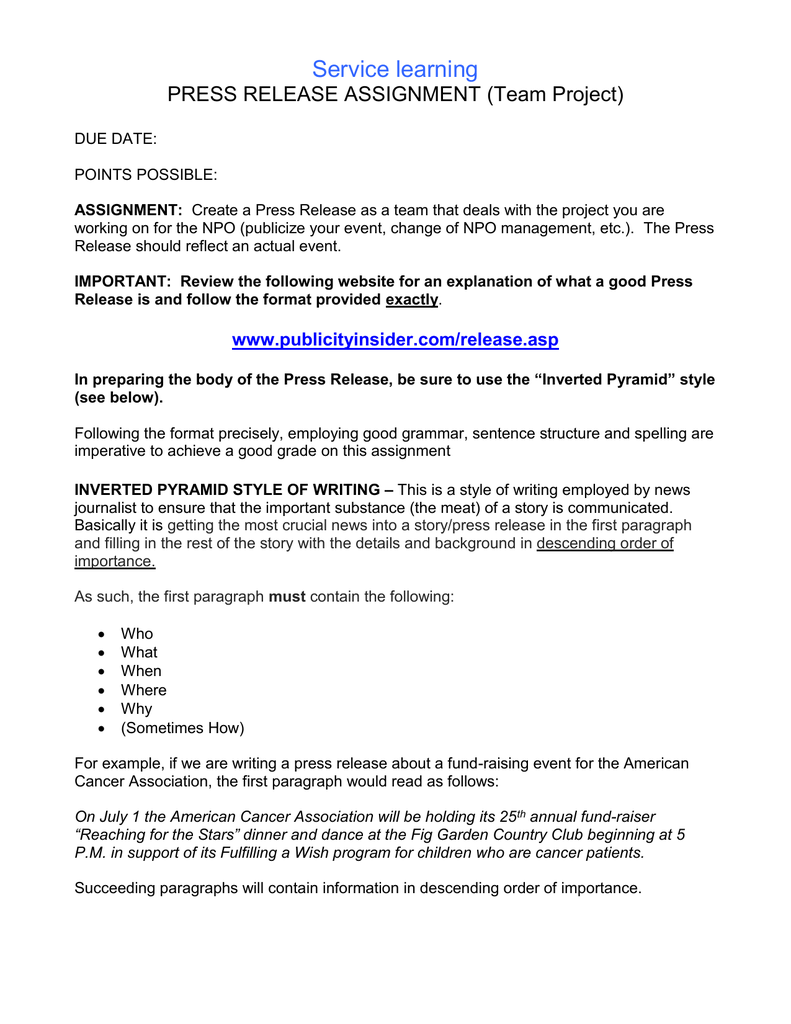 Service learning PRESS RELEASE ASSIGNMENT (Team Project)