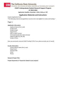 Application Materials and Instructions Page 1: COAST Undergraduate Student Research Support Program