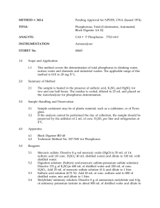 METHOD #: 365.4 TITLE: Pending Approval for NPDES, CWA (Issued 1974)