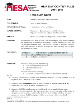 MESA DAY CONTEST RULES 2014-2015 Team Math Quest