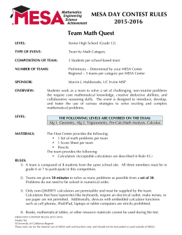 MESA DAY CONTEST RULES 2015-2016 Team Math Quest