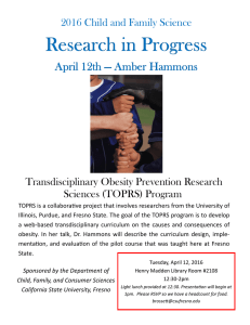 2016 Child and Family Science Transdisciplinary Obesity Prevention Research Sciences (TOPRS) Program