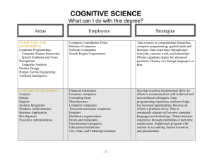 COGNITIVE SCIENCE  What can I do with this degree?