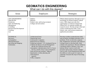 GEOMATICS ENGINEERING  What can I do with this degree? Areas