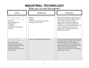 INDUSTRIAL TECHNOLOGY  What can I do with this degree? Areas
