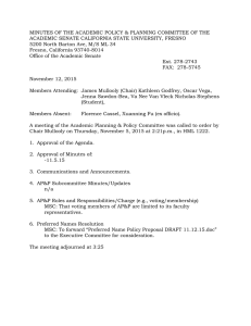 MINUTES OF THE ACADEMIC POLICY & PLANNING COMMITTEE OF THE