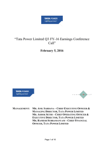"""Tata Power Limited Q3 FY-16 Earnings Conference Call"" February 5, 2016"