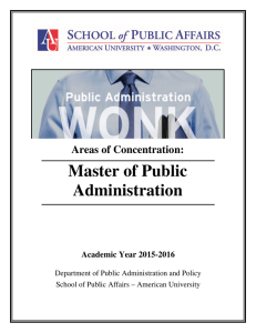 Master of Public Administration Areas of Concentration: Academic Year 2015-2016