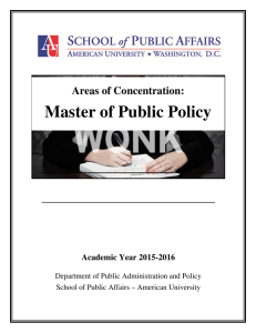 Master of Public Policy Areas of Concentration: Academic Year 2015-2016