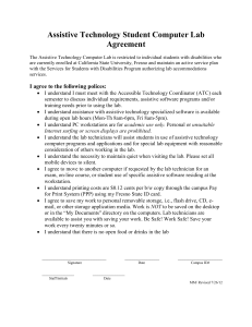 Assistive Technology Student Computer Lab Agreement