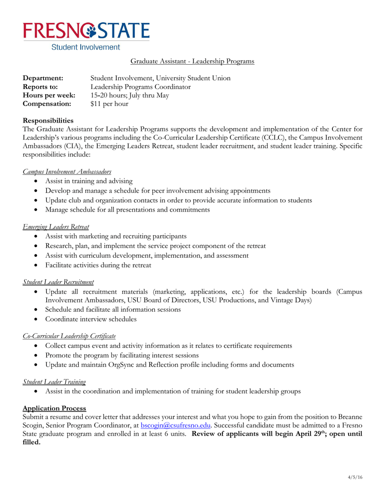 Graduate Assistant - Leadership Programs Student Involvement ...