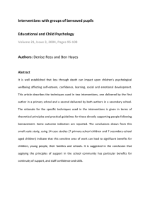 Interventions with groups of bereaved pupils  Educational and Child Psychology  Authors: