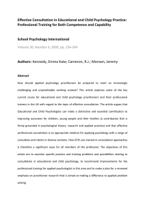 Effective Consultation in Educational and Child Psychology Practice:  Professional Training for Both Competence and Capability