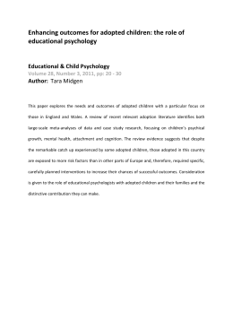 Enhancing outcomes for adopted children: the role of  educational psychology    Educational & Child Psychology