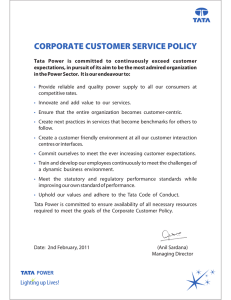 CORPORATE CUSTOMER SERVICE POLICY