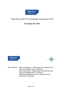 """Tata Power Q2 FY16 Earnings Conference Call"" November 09, 2015  –"