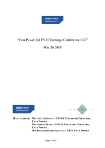"""Tata Power Q4 FY15 Earnings Conference Call"" May 20, 2015 –"