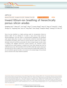 Inward lithium-ion breathing of hierarchically porous silicon anodes ARTICLE