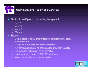 Comparators – a brief overview Except…