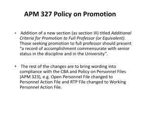 APM 327 Policy on Promotion