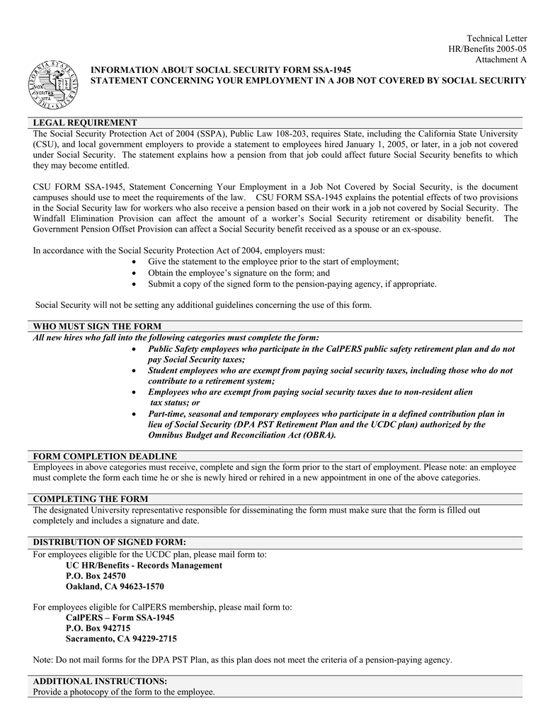 Social Security Letter Of Benefits.Technical Letter Hr Benefits 2005 05 Attachment A