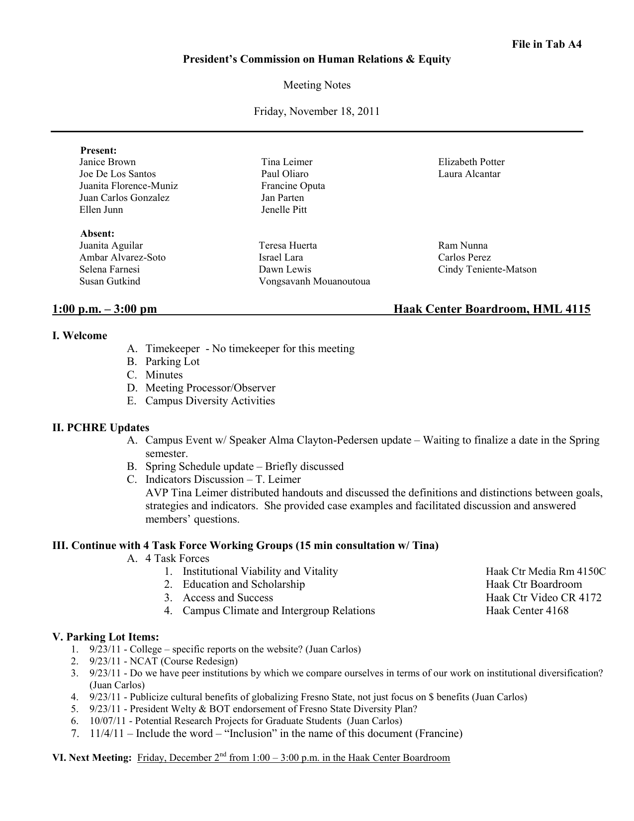 File in Tab A4 President's Commission on Human Relations & Equity