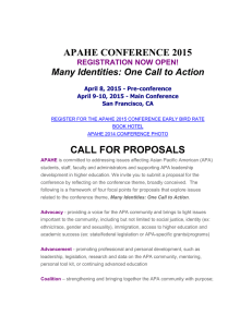 APAHE CONFERENCE 2015 CALL FOR PROPOSALS Many Identities: One Call to Action