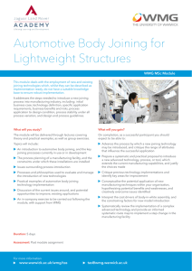 Automotive Body Joining for Lightweight Structures WMG MSc Module
