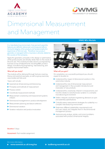 Dimensional Measurement and Management WMG MSc Module
