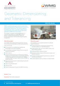 Geometric Dimensioning and Tolerancing WMG MSc Module