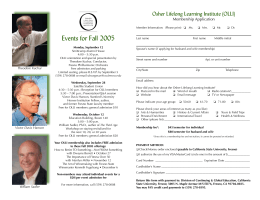Events for Fall 2005 Osher Lifelong Learning Institute (OLLI)  Membership Application