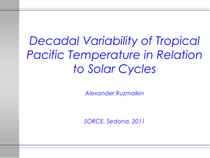 Decadal Variability of Tropical Pacific Temperature in Relation to Solar Cycles