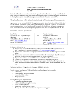 South Coast Rail Corridor Plan Notice of Technical Assistance Opportunity May 2013