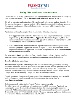 Spring 2014 Admissions Announcement