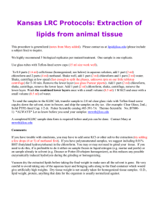Kansas LRC Protocols: Extraction of lipids from animal tissue