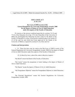 Legal Notice 82 of 2009 – Malta Government Gazette No....  EDUCATION ACT (CAP. 327)
