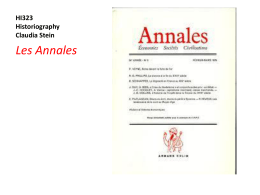 Les Annales HI323 Historiography Claudia Stein
