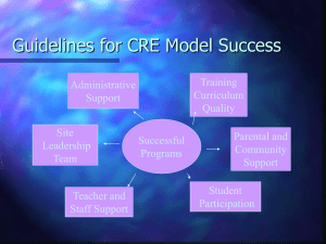 Guidelines for CRE Model Success