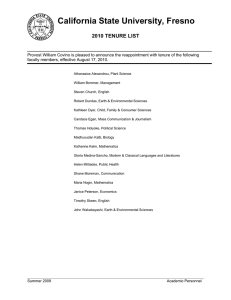 California State University, Fresno 2010 TENURE LIST