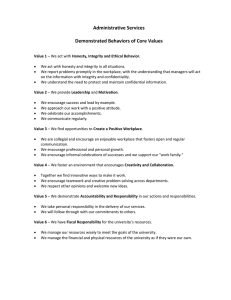 Administrative Services  Demonstrated Behaviors of Core Values