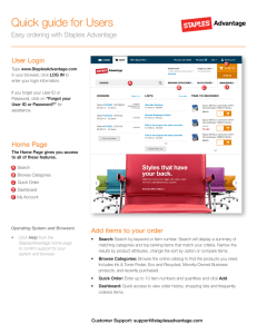 Quick guide for Users User Login Easy ordering with Staples Advantage