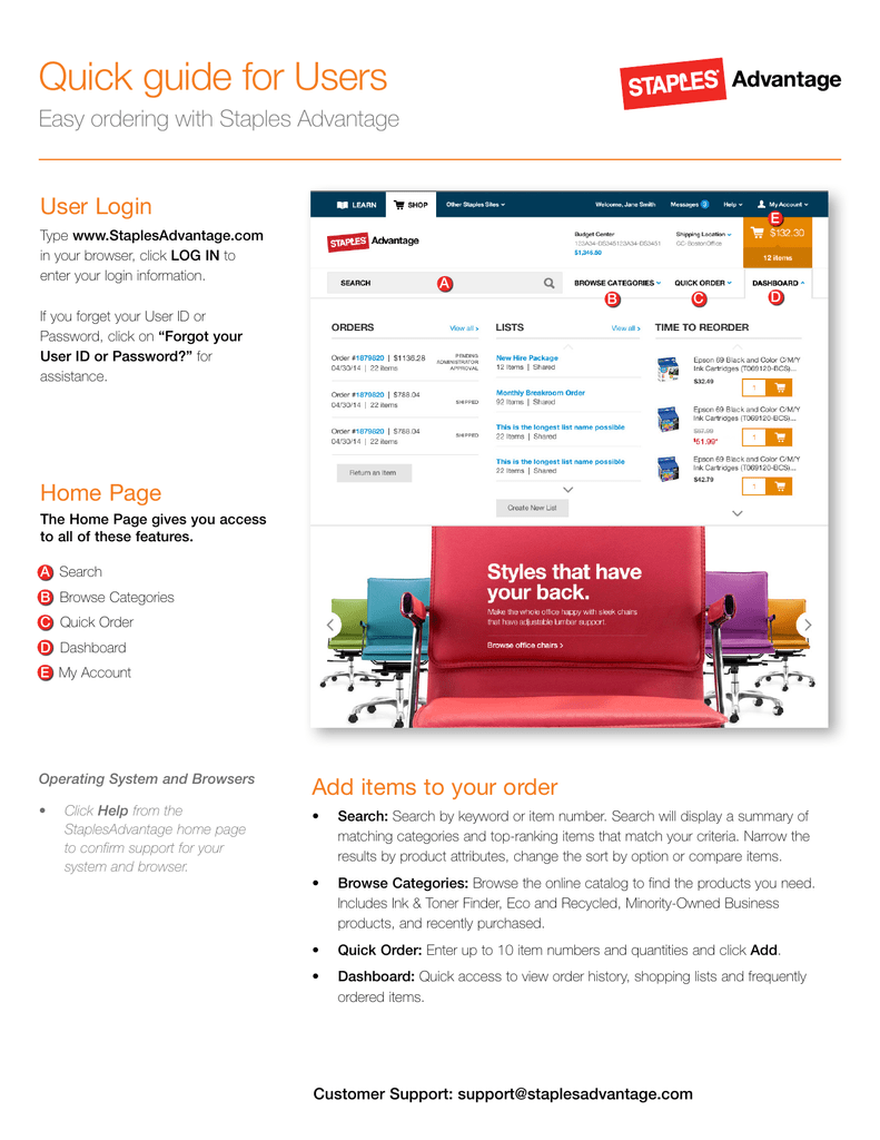 Quick guide for Users User Login Easy ordering with Staples