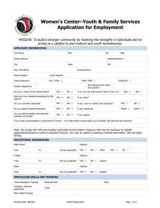Women's Center–Youth & Family Services Application for Employment